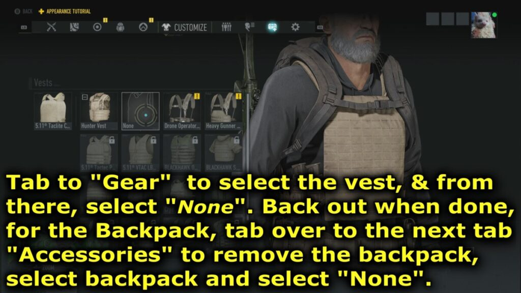 "Select ""none"" to remove your vest."