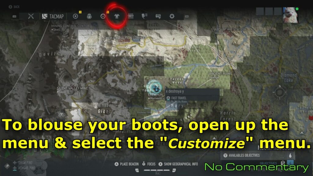 open customize menu