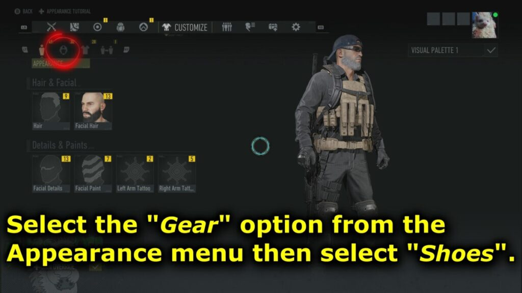 Select Gear from the sub-tab
