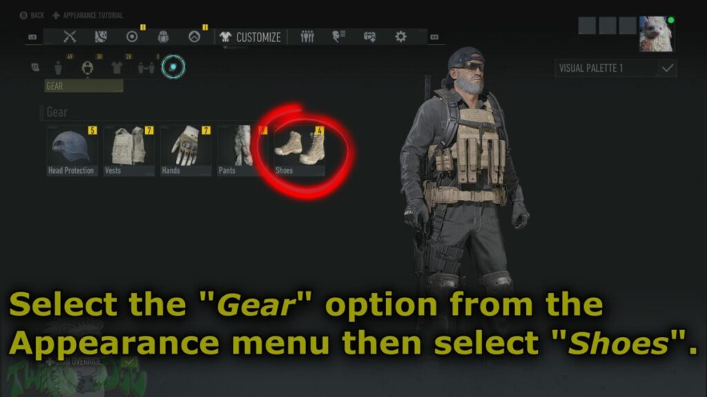 click on the boots options