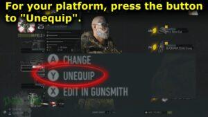 Menu option that appear, click UNEQUIP