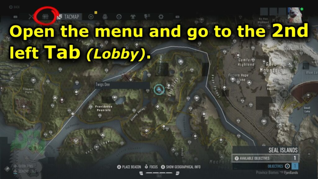Oopen the menu and go to the 2nd left Tab (Lobby)