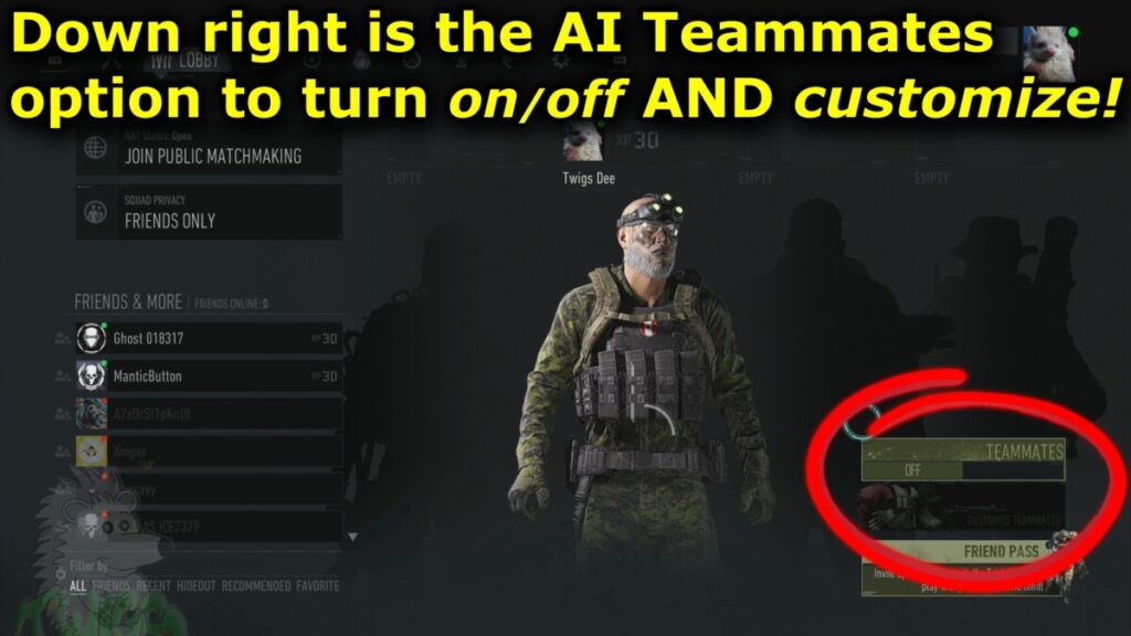 Down right is the AI Teammates option to turn on/off AND customize them
