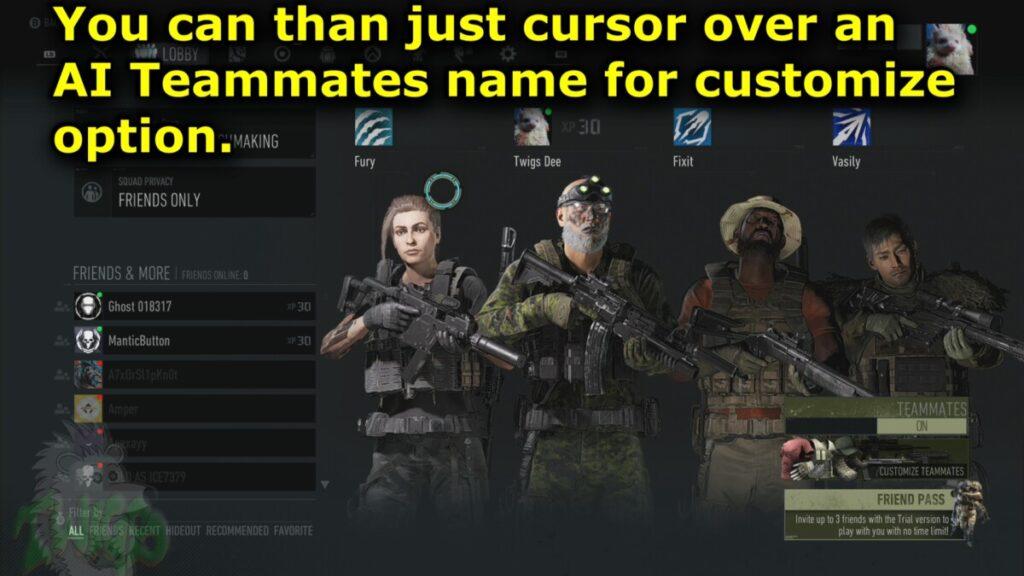 Cursor over a AI Teammates name for customizing options.