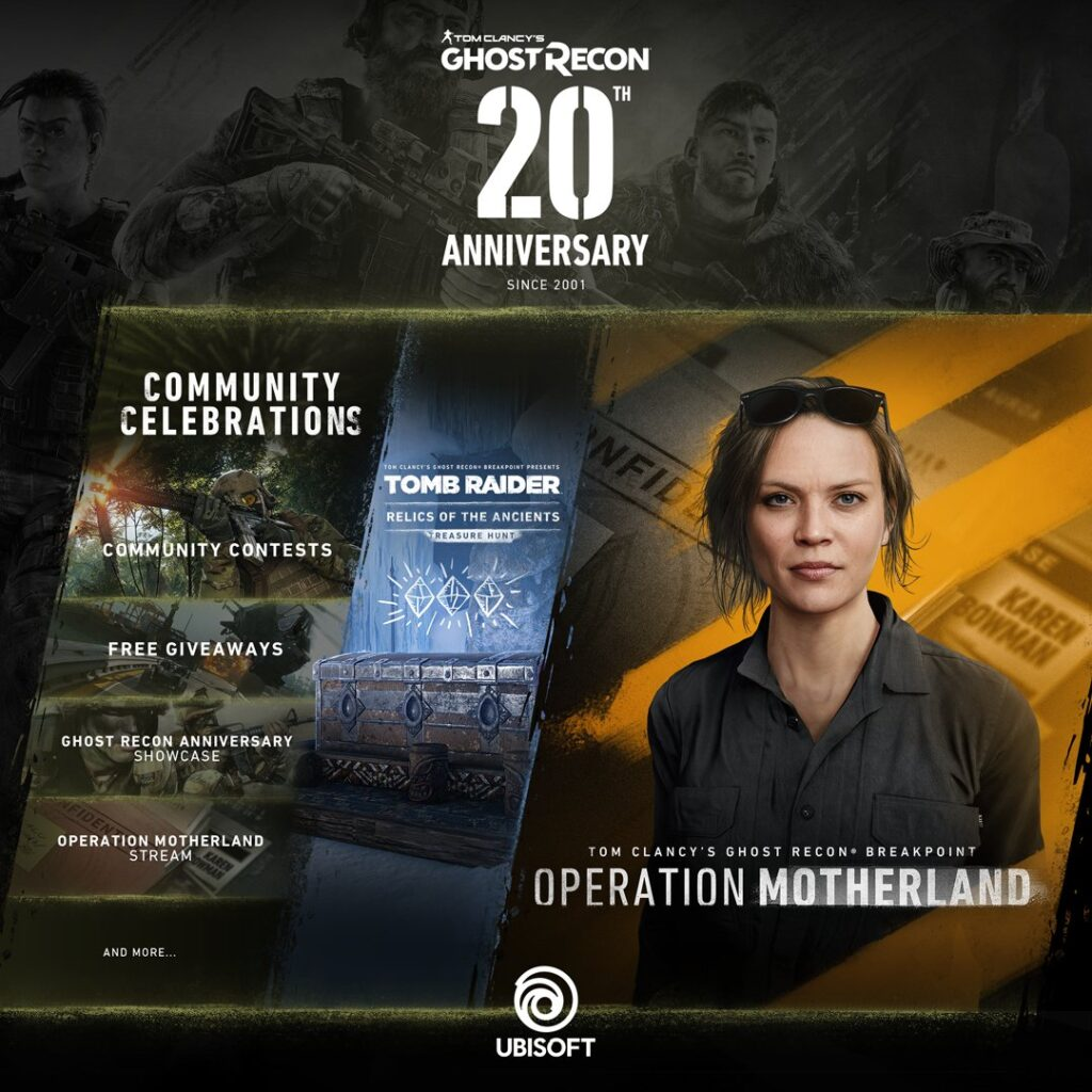 Ghost Recon 20th Anniversary plans.  Bowman is coming in end year update, Tomb Raider event, giveaways, contests and much more